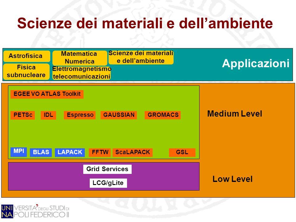 Applicazioni Scienze dei materiali e dellambiente Grid Services LCG/gLite GSL Fisica subnucleare EGEE VO ATLAS Toolkit PETSc Matematica Numerica Elett