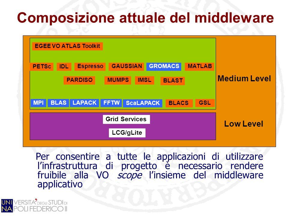 Composizione attuale del middleware Grid Services LCG/gLite GSL EGEE VO ATLAS Toolkit MPIBLASLAPACK PETScIDL Espresso FFTW GAUSSIANGROMACS PARDISOMUMP