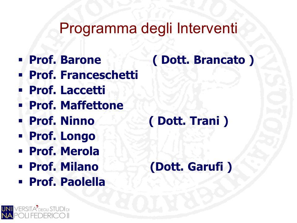 Programma degli Interventi Prof. Barone ( Dott. Brancato ) Prof. Franceschetti Prof. Laccetti Prof. Maffettone Prof. Ninno ( Dott. Trani ) Prof. Longo