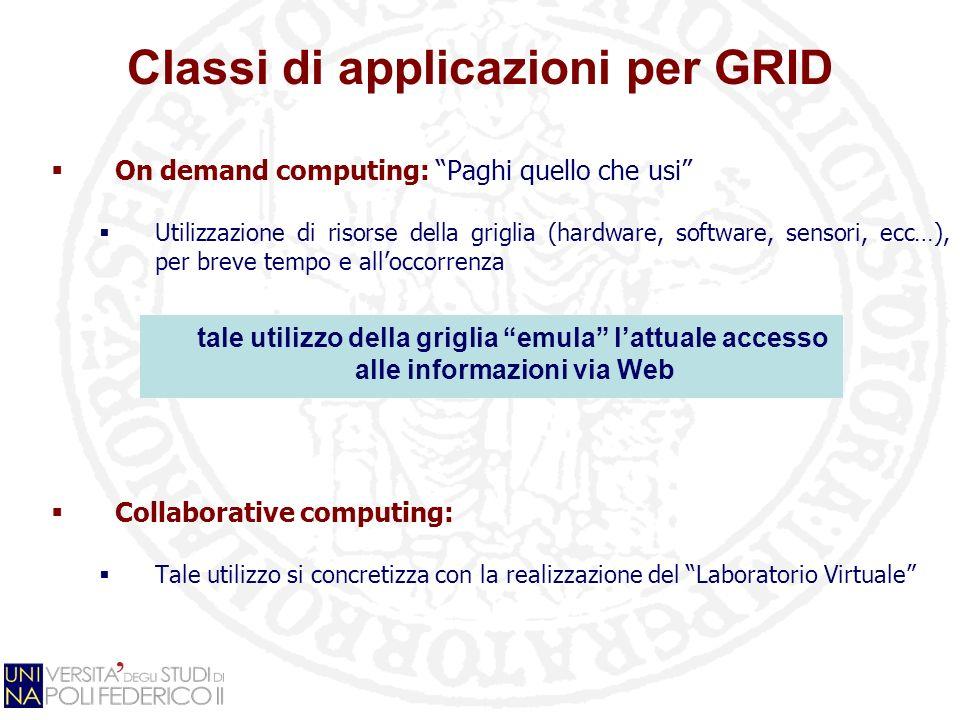 On demand computing: Paghi quello che usi Utilizzazione di risorse della griglia (hardware, software, sensori, ecc…), per breve tempo e alloccorrenza