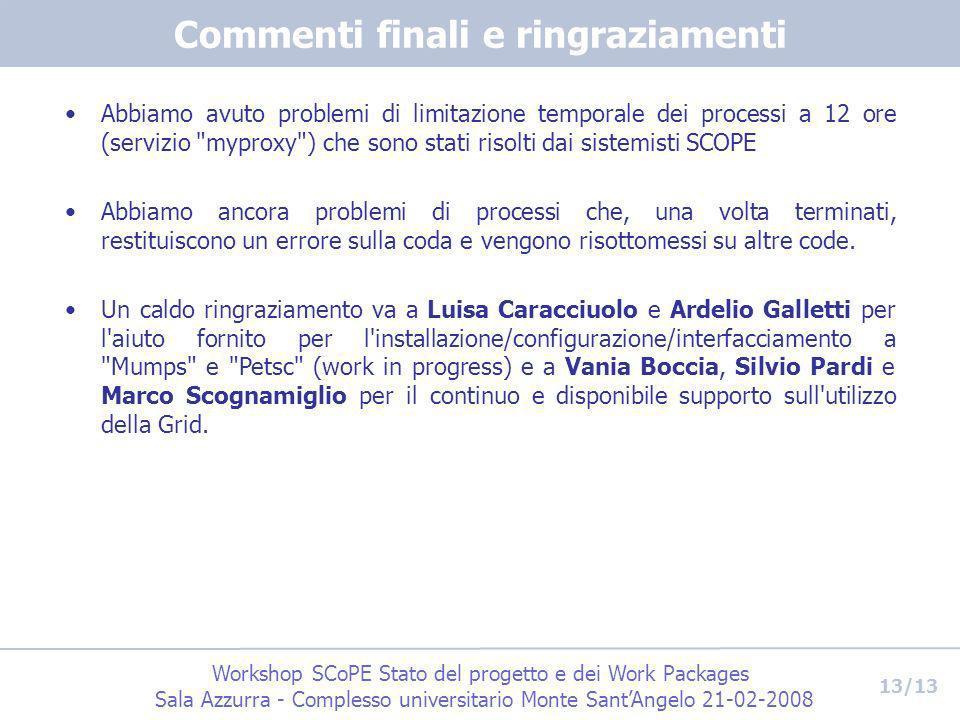 Workshop SCoPE Stato del progetto e dei Work Packages Sala Azzurra - Complesso universitario Monte SantAngelo 21-02-2008 13/13 Commenti finali e ringr
