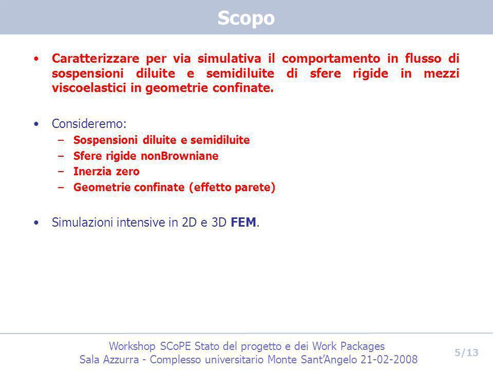 Workshop SCoPE Stato del progetto e dei Work Packages Sala Azzurra - Complesso universitario Monte SantAngelo 21-02-2008 5/13 Scopo Caratterizzare per