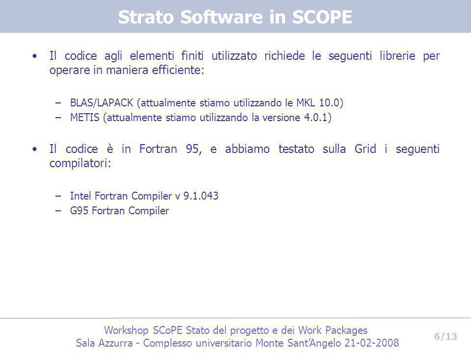 Workshop SCoPE Stato del progetto e dei Work Packages Sala Azzurra - Complesso universitario Monte SantAngelo 21-02-2008 6/13 Strato Software in SCOPE