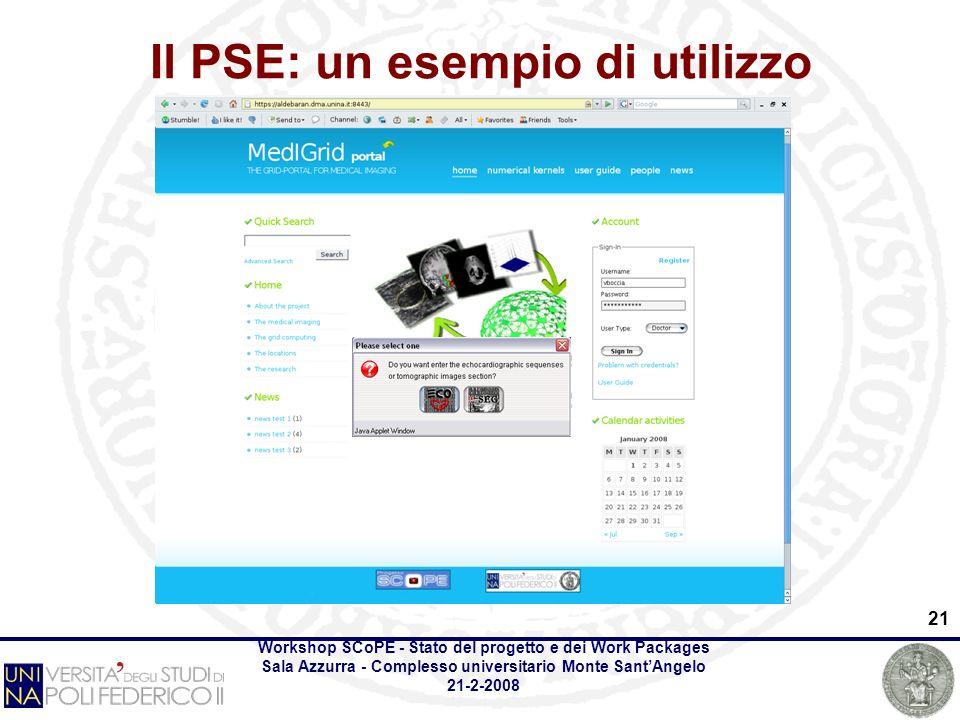 Workshop SCoPE - Stato del progetto e dei Work Packages Sala Azzurra - Complesso universitario Monte SantAngelo 21-2-2008 21 Il PSE: un esempio di utilizzo