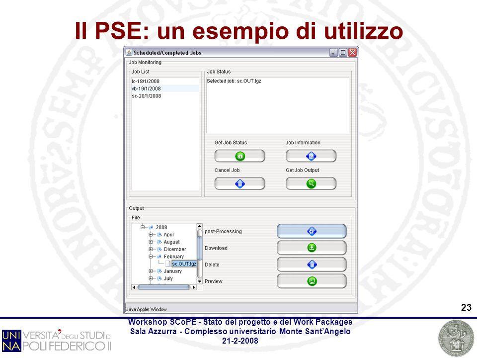 Workshop SCoPE - Stato del progetto e dei Work Packages Sala Azzurra - Complesso universitario Monte SantAngelo 21-2-2008 23 Il PSE: un esempio di utilizzo