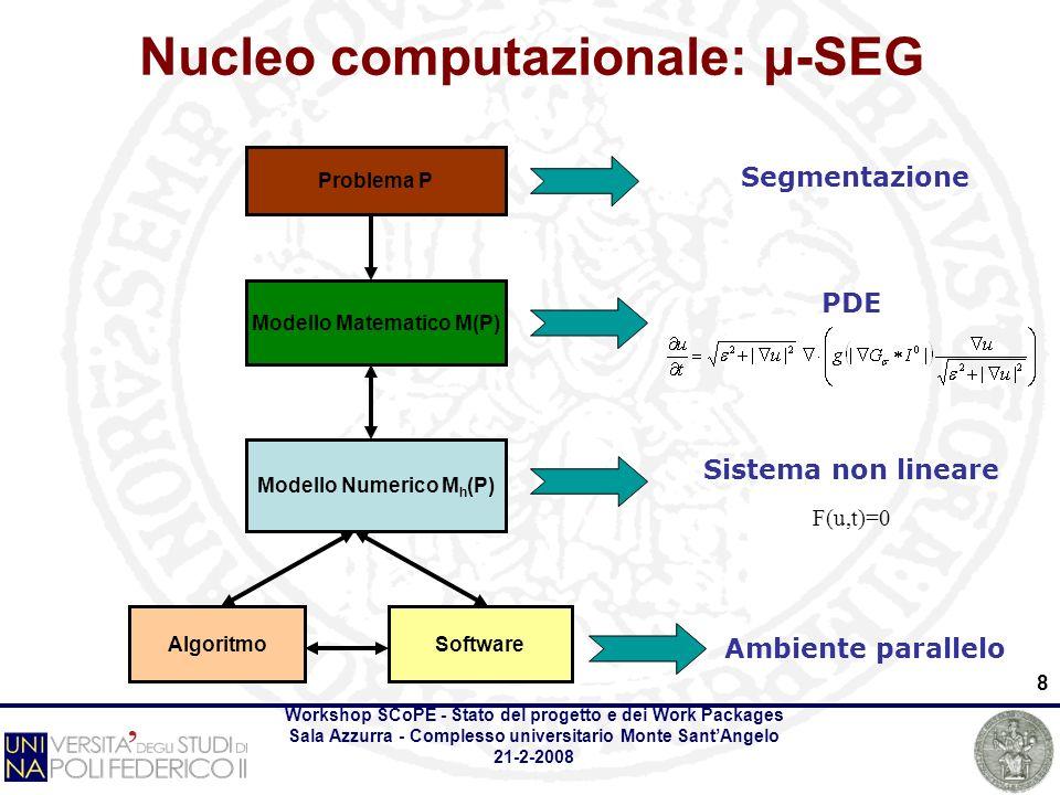Workshop SCoPE - Stato del progetto e dei Work Packages Sala Azzurra - Complesso universitario Monte SantAngelo 21-2-2008 8 Problema P Modello Matematico M(P) Modello Numerico M h (P) SoftwareAlgoritmo Segmentazione Ambiente parallelo PDE Sistema non lineare Nucleo computazionale: μ-SEG F(u,t)=0