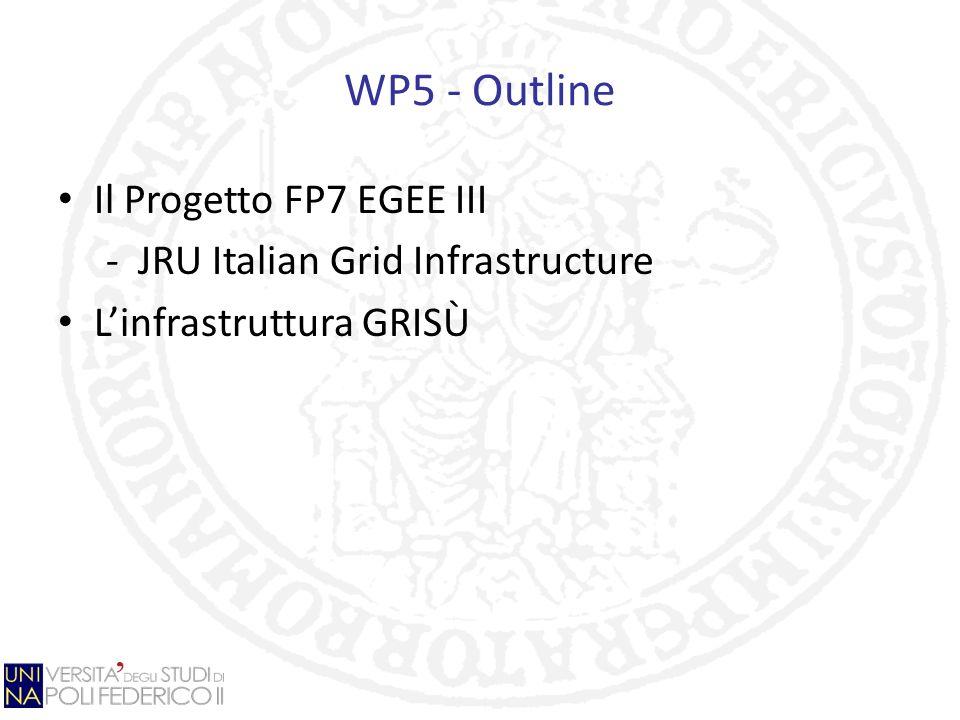 JRU Italian Grid Infrastructure (IGI) Obiettivi: Potenziamento e consolidamento dellinfrastruttura di griglia europea Rendere efficiente luso dellinfrastruttura Migliorare gli stumenti di gestione e monitoring Perseguire linteroperabilità con le altre Grid a livello internazionale Sviluppare applicazioni Promuovere le conoscenze e le tecnologie nel campo del Grid Computing Partecipanti: Istituto Nazionale di Fisica Nucleare Ente per le Nuove tecnologie, lEnergia e lAmbiente Consiglio Nazionale delle Ricerche Istituto Nazionale di Astrofisica Istituto Nazionale di Geofisica e Vulcanologia Università degli Studi di Napoli Federico II Università degli studi della Calabria Sincrotrone Trieste S.C.p.A.