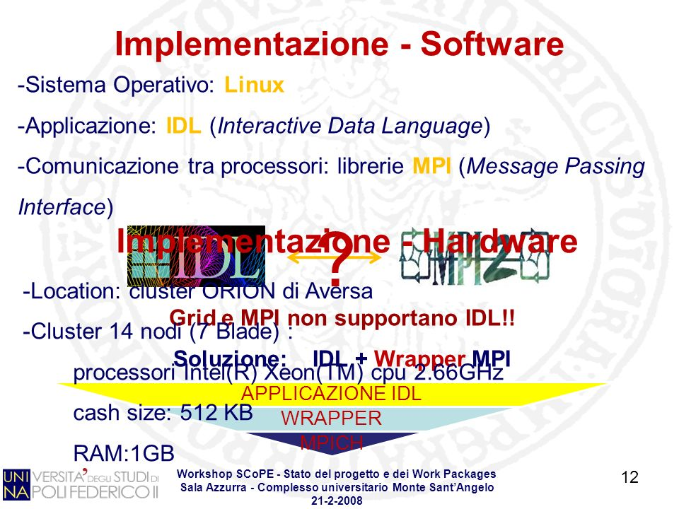 Workshop SCoPE - Stato del progetto e dei Work Packages Sala Azzurra - Complesso universitario Monte SantAngelo Sistema Operativo: Linux -Applicazione: IDL (Interactive Data Language) -Comunicazione tra processori: librerie MPI (Message Passing Interface) APPLICAZIONE IDL WRAPPER MPICH Implementazione - Software .