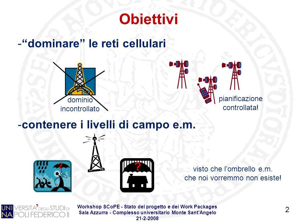 Obiettivi Workshop SCoPE - Stato del progetto e dei Work Packages Sala Azzurra - Complesso universitario Monte SantAngelo 21-2-2008 2 -dominare le reti cellulari -contenere i livelli di campo e.m.