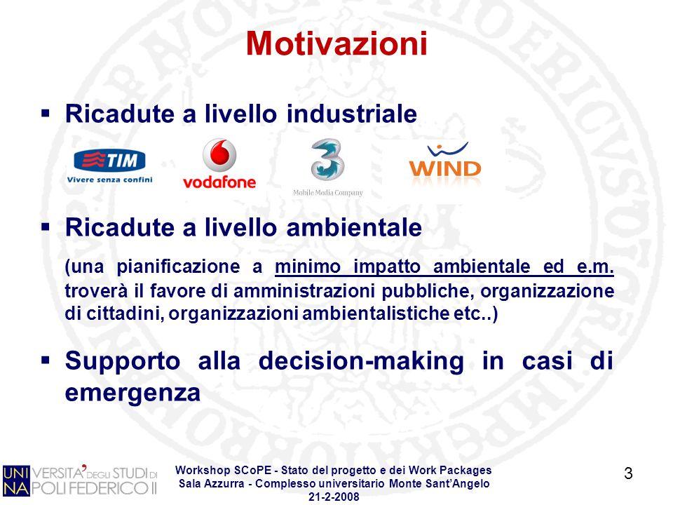 Workshop SCoPE - Stato del progetto e dei Work Packages Sala Azzurra - Complesso universitario Monte SantAngelo 21-2-2008 Ricadute a livello industriale Ricadute a livello ambientale (una pianificazione a minimo impatto ambientale ed e.m.