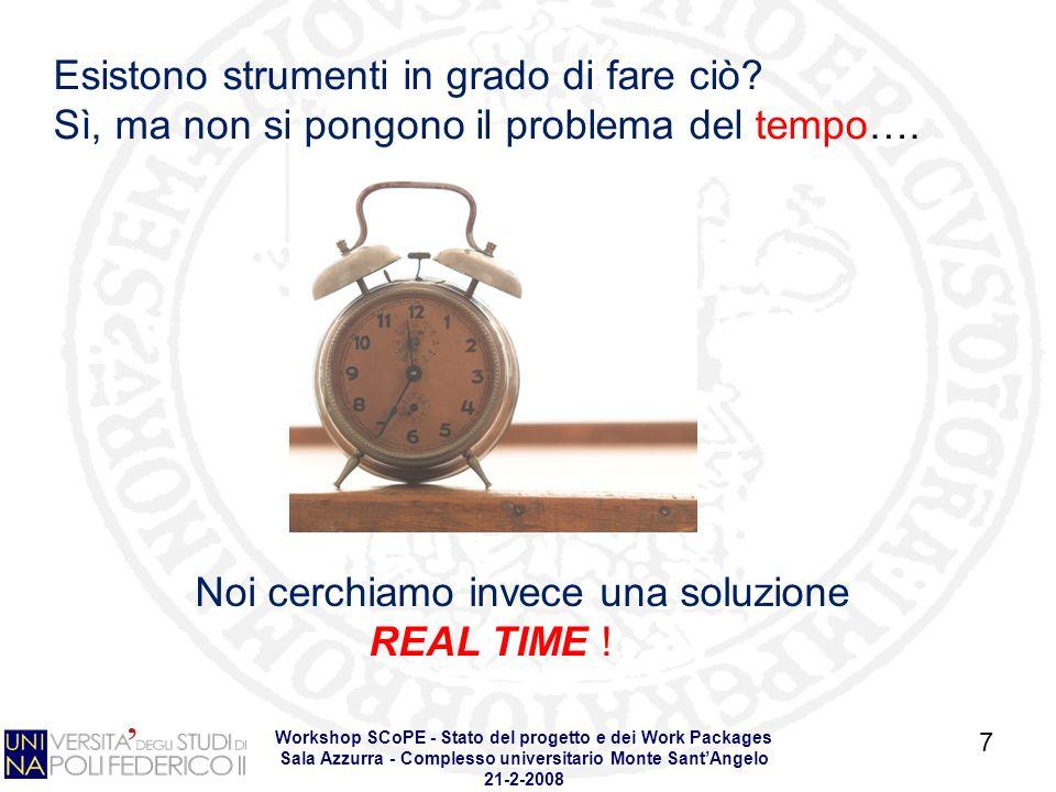 Workshop SCoPE - Stato del progetto e dei Work Packages Sala Azzurra - Complesso universitario Monte SantAngelo 21-2-2008 7 Esistono strumenti in grado di fare ciò.