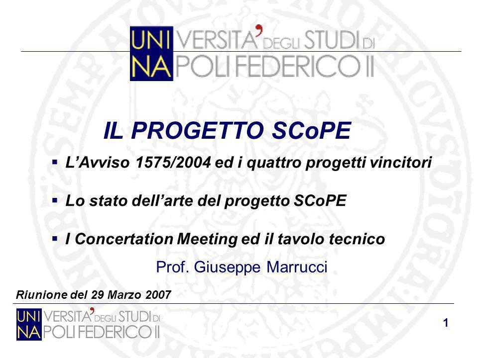 1 Riunione del 29 Marzo 2007 IL PROGETTO SCoPE Prof. Giuseppe Marrucci LAvviso 1575/2004 ed i quattro progetti vincitori Lo stato dellarte del progett