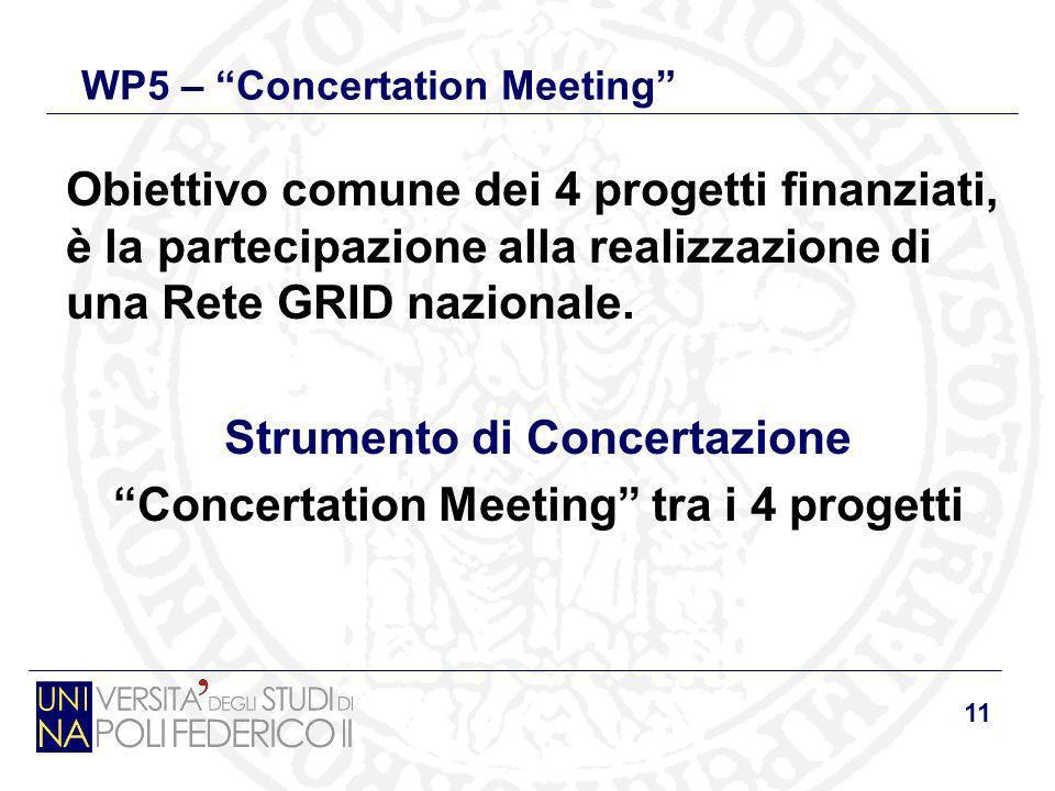 11 WP5 – Concertation Meeting Obiettivo comune dei 4 progetti finanziati, è la partecipazione alla realizzazione di una Rete GRID nazionale. Strumento