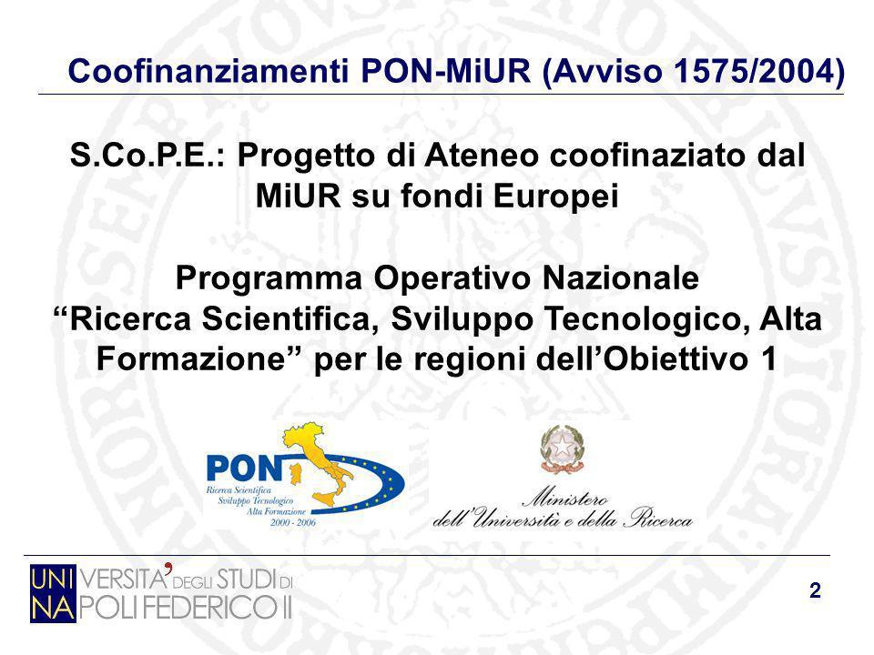 2 Coofinanziamenti PON-MiUR (Avviso 1575/2004) S.Co.P.E.: Progetto di Ateneo coofinaziato dal MiUR su fondi Europei Programma Operativo Nazionale Rice