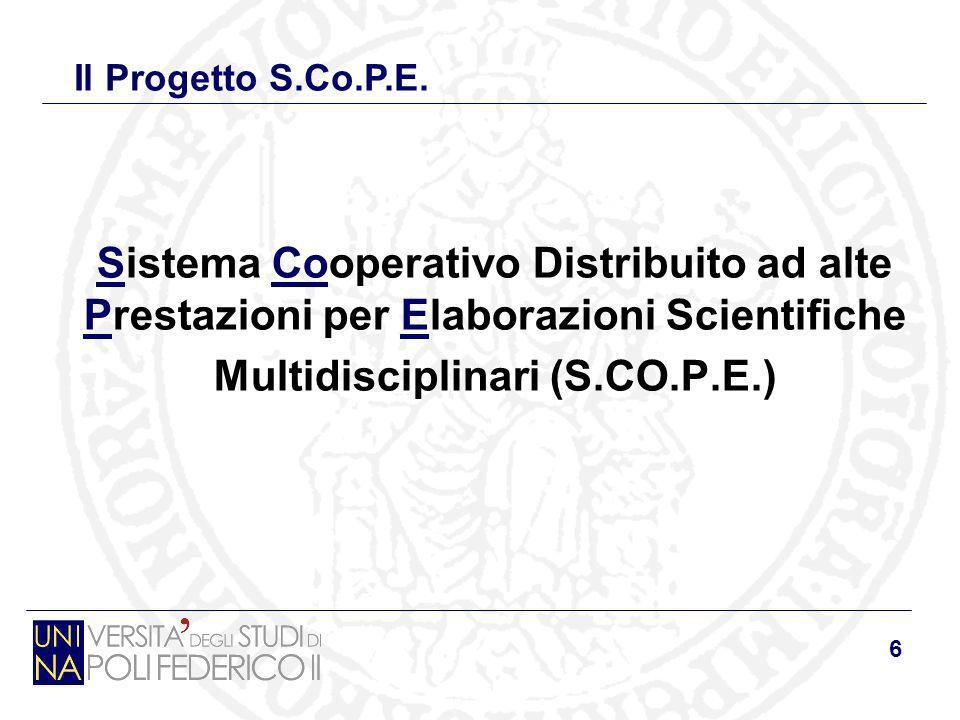 6 Sistema Cooperativo Distribuito ad alte Prestazioni per Elaborazioni Scientifiche Multidisciplinari (S.CO.P.E.) Il Progetto S.Co.P.E.
