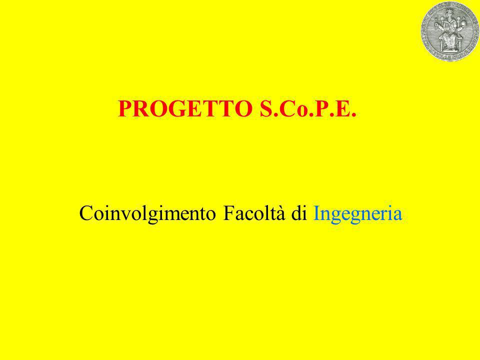 PROGETTO S.Co.P.E. Coinvolgimento Facoltà di Ingegneria