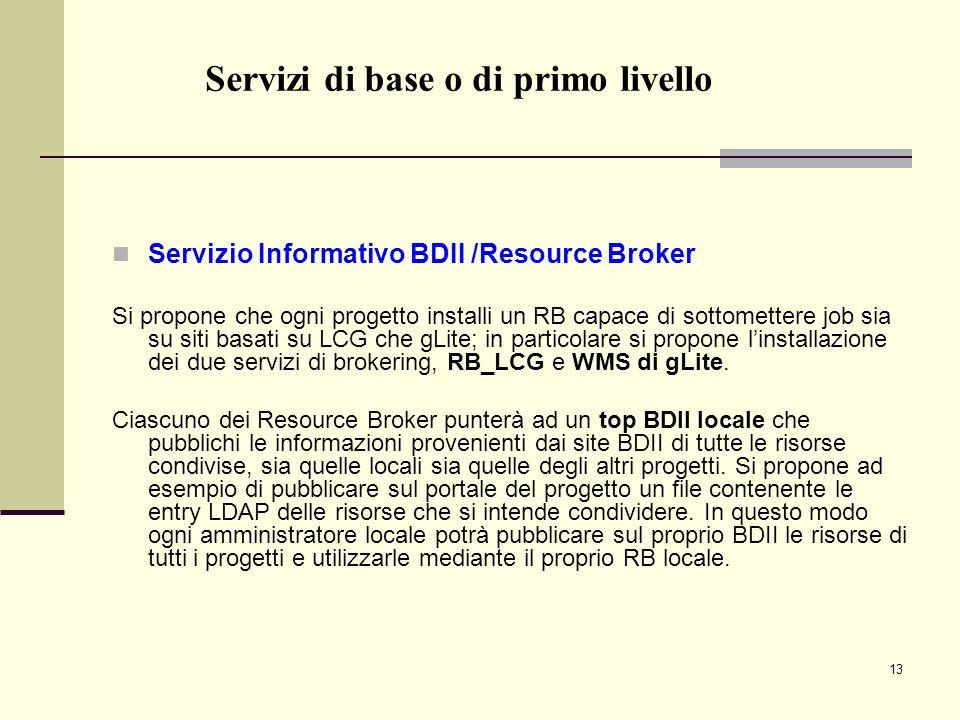 13 Servizio Informativo BDII /Resource Broker Si propone che ogni progetto installi un RB capace di sottomettere job sia su siti basati su LCG che gLite; in particolare si propone linstallazione dei due servizi di brokering, RB_LCG e WMS di gLite.