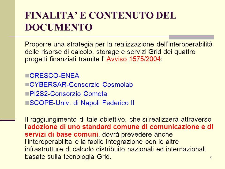 2 FINALITA E CONTENUTO DEL DOCUMENTO Proporre una strategia per la realizzazione dellinteroperabilità delle risorse di calcolo, storage e servizi Grid dei quattro progetti finanziati tramite l Avviso 1575/2004: CRESCO-ENEA CYBERSAR-Consorzio Cosmolab PI2S2-Consorzio Cometa SCOPE-Univ.