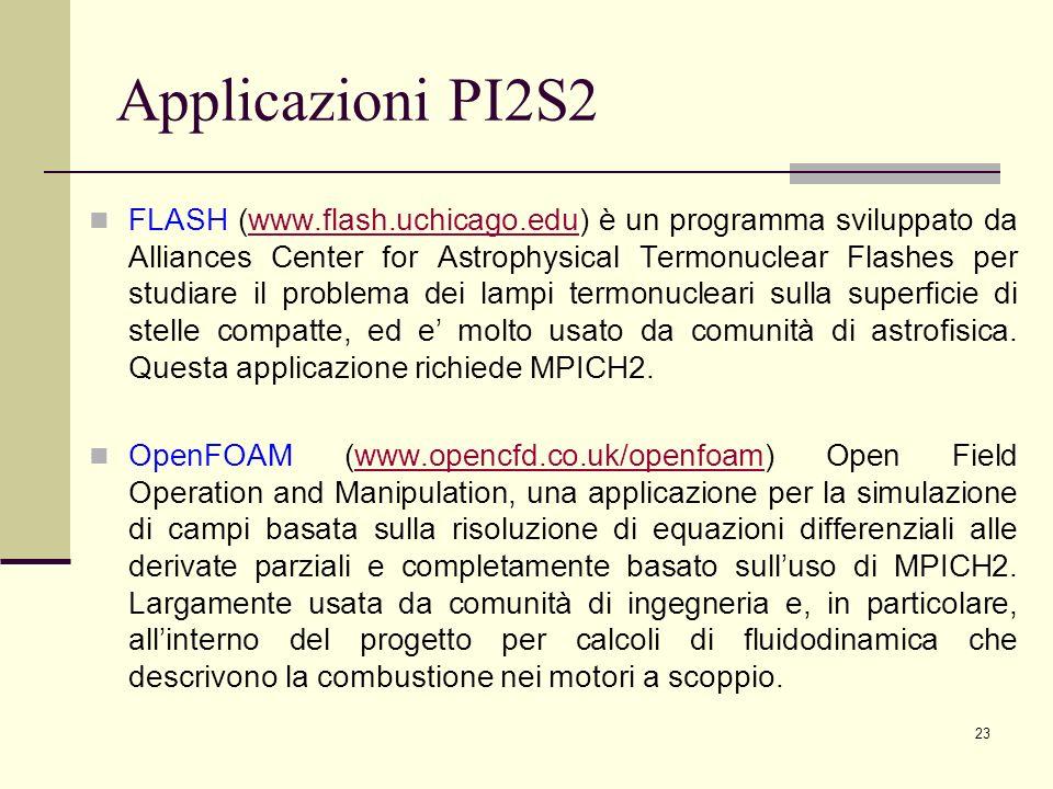 23 Applicazioni PI2S2 FLASH (www.flash.uchicago.edu) è un programma sviluppato da Alliances Center for Astrophysical Termonuclear Flashes per studiare il problema dei lampi termonucleari sulla superficie di stelle compatte, ed e molto usato da comunità di astrofisica.