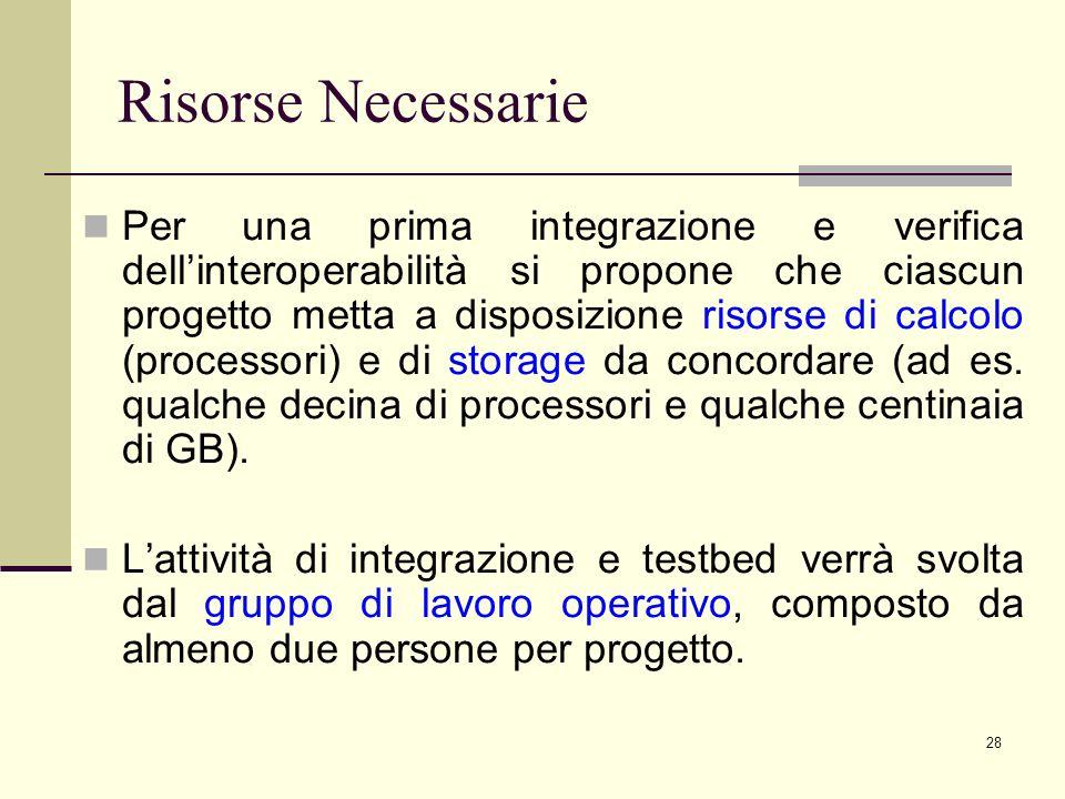28 Risorse Necessarie Per una prima integrazione e verifica dellinteroperabilità si propone che ciascun progetto metta a disposizione risorse di calcolo (processori) e di storage da concordare (ad es.