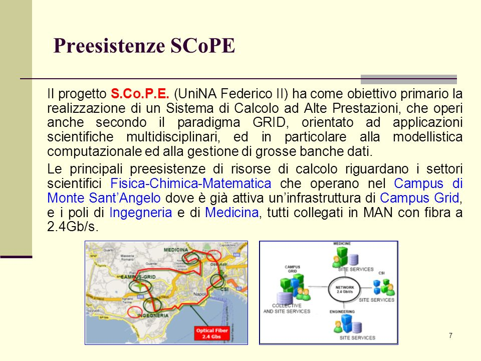 7 Preesistenze SCoPE Il progetto S.Co.P.E.