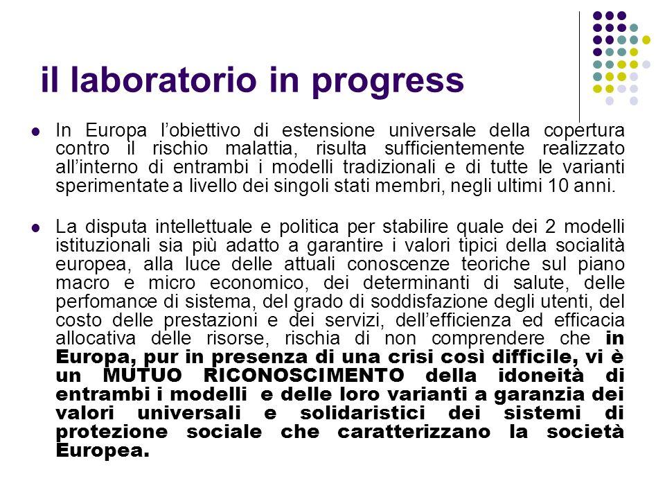 il laboratorio in progress In Europa lobiettivo di estensione universale della copertura contro il rischio malattia, risulta sufficientemente realizza
