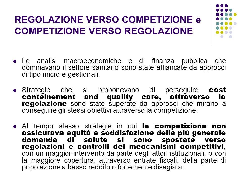 REGOLAZIONE VERSO COMPETIZIONE e COMPETIZIONE VERSO REGOLAZIONE Le analisi macroeconomiche e di finanza pubblica che dominavano il settore sanitario s