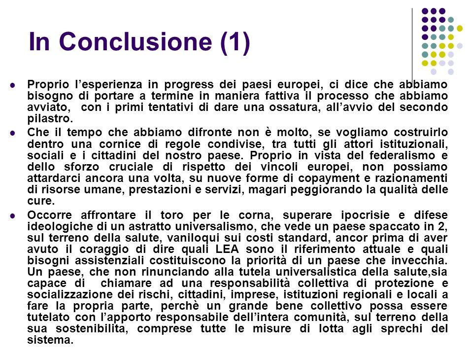 In Conclusione (1) Proprio lesperienza in progress dei paesi europei, ci dice che abbiamo bisogno di portare a termine in maniera fattiva il processo che abbiamo avviato, con i primi tentativi di dare una ossatura, allavvio del secondo pilastro.