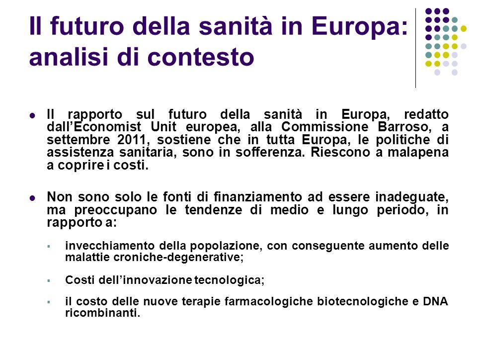 Il futuro della sanità in Europa: analisi di contesto Il rapporto sul futuro della sanità in Europa, redatto dallEconomist Unit europea, alla Commissione Barroso, a settembre 2011, sostiene che in tutta Europa, le politiche di assistenza sanitaria, sono in sofferenza.