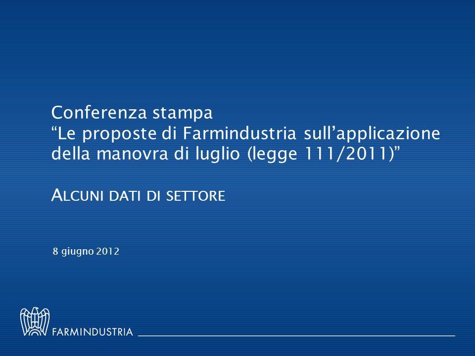 Conferenza stampa Le proposte di Farmindustria sullapplicazione della manovra di luglio (legge 111/2011) A LCUNI DATI DI SETTORE 8 giugno 2012