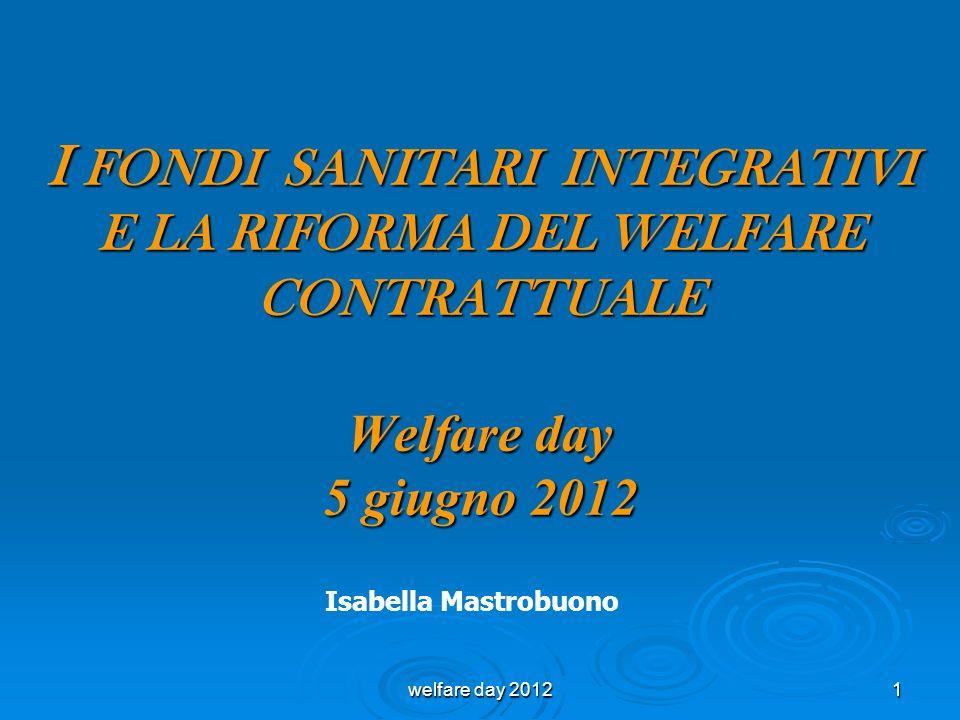 I FONDI SANITARI INTEGRATIVI E LA RIFORMA DEL WELFARE CONTRATTUALE Welfare day 5 giugno 2012 Isabella Mastrobuono 1welfare day 2012
