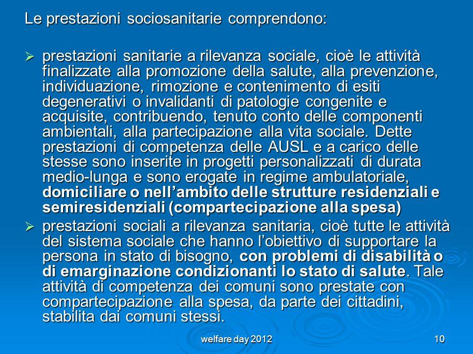 Le prestazioni sociosanitarie comprendono: prestazioni sanitarie a rilevanza sociale, cioè le attività finalizzate alla promozione della salute, alla