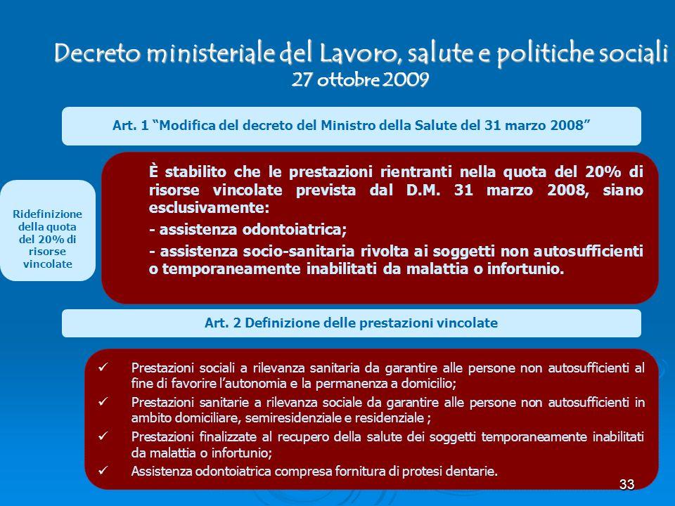 Decreto ministeriale del Lavoro, salute e politiche sociali 27 ottobre 2009 Art. 1 Modifica del decreto del Ministro della Salute del 31 marzo 2008 È