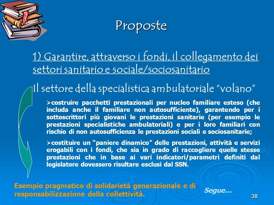 Proposte Proposte 1) Garantire, attraverso i fondi, il collegamento dei settori sanitario e sociale/sociosanitario Il settore della specialistica ambu