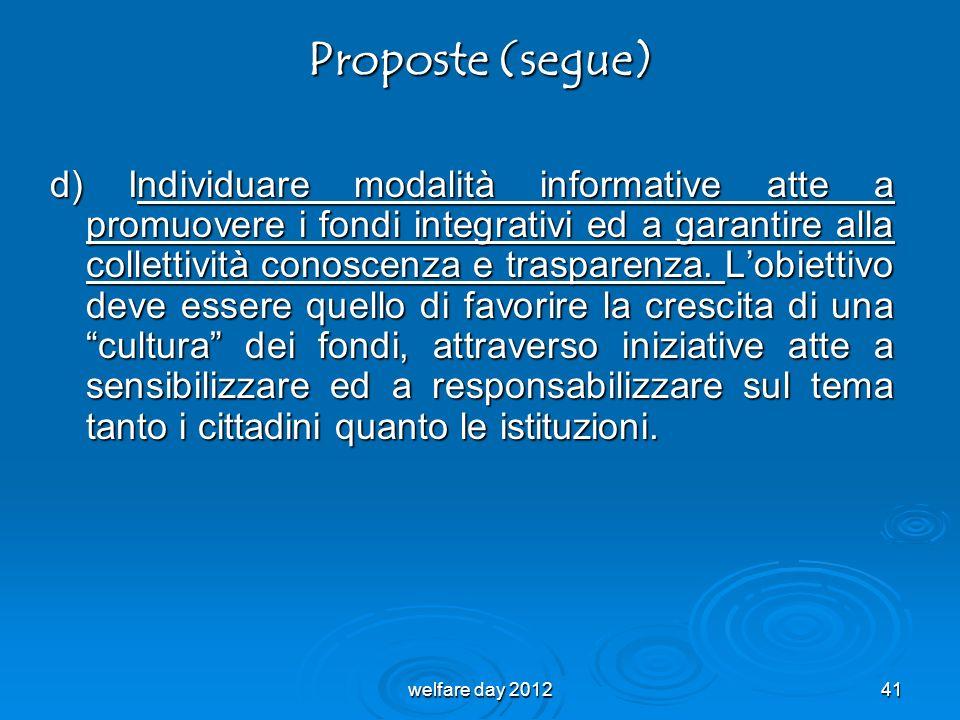 Proposte (segue) d) Individuare modalità informative atte a promuovere i fondi integrativi ed a garantire alla collettività conoscenza e trasparenza.