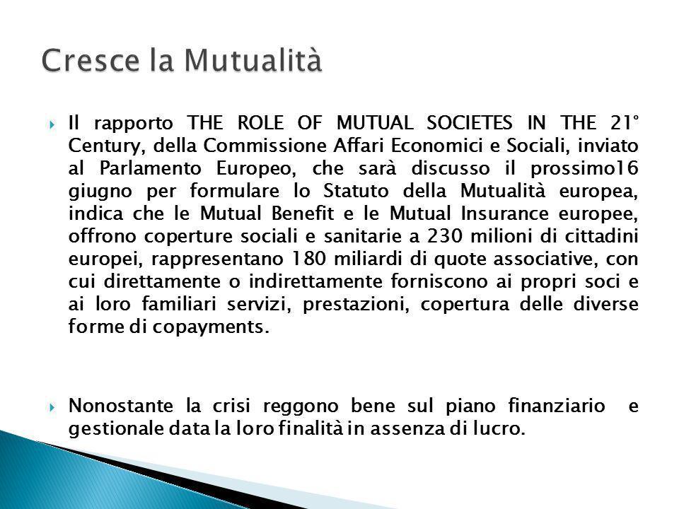 Il rapporto THE ROLE OF MUTUAL SOCIETES IN THE 21° Century, della Commissione Affari Economici e Sociali, inviato al Parlamento Europeo, che sarà disc