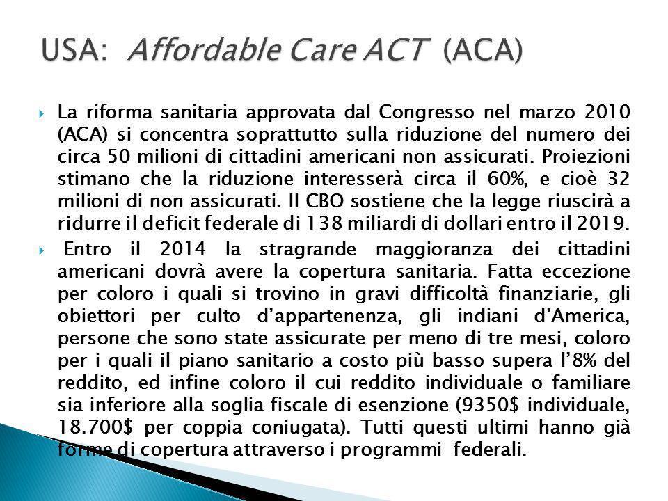 La riforma sanitaria approvata dal Congresso nel marzo 2010 (ACA) si concentra soprattutto sulla riduzione del numero dei circa 50 milioni di cittadin