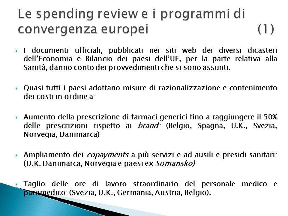 Riduzione dei costi della voce beni e servizi del 12% entro il 2012 ed un ulteriore 10% entro il 2014: (Spagna, Francia, Germania, Olanda, Belgio, Norvegia, Italia).