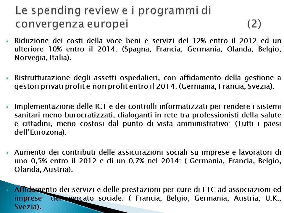 Riduzione dei costi della voce beni e servizi del 12% entro il 2012 ed un ulteriore 10% entro il 2014: (Spagna, Francia, Germania, Olanda, Belgio, Nor