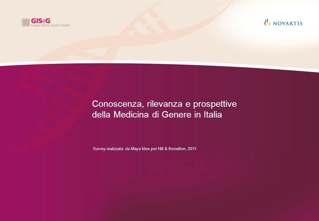 Conoscenza, rilevanza e prospettive della Medicina di Genere in Italia Survey realizzata da Maya Idee per Hill & Knowlton, 2011