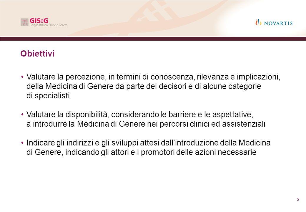 2 Obiettivi Valutare la percezione, in termini di conoscenza, rilevanza e implicazioni, della Medicina di Genere da parte dei decisori e di alcune cat