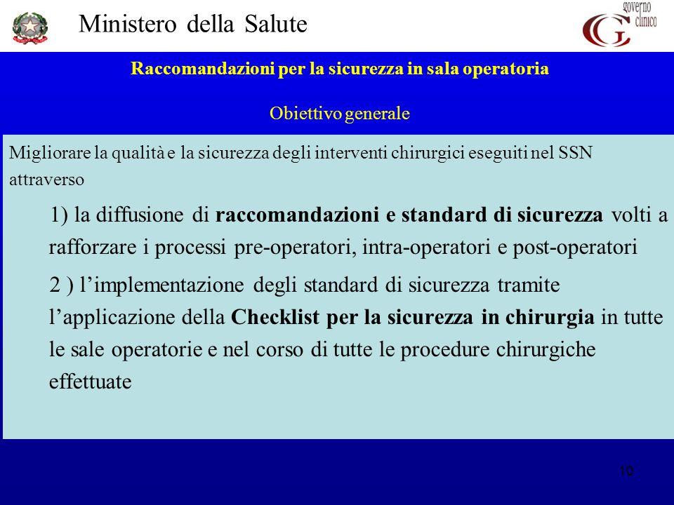 Ministero della Salute 10 Raccomandazioni per la sicurezza in sala operatoria Obiettivo generale Migliorare la qualità e la sicurezza degli interventi