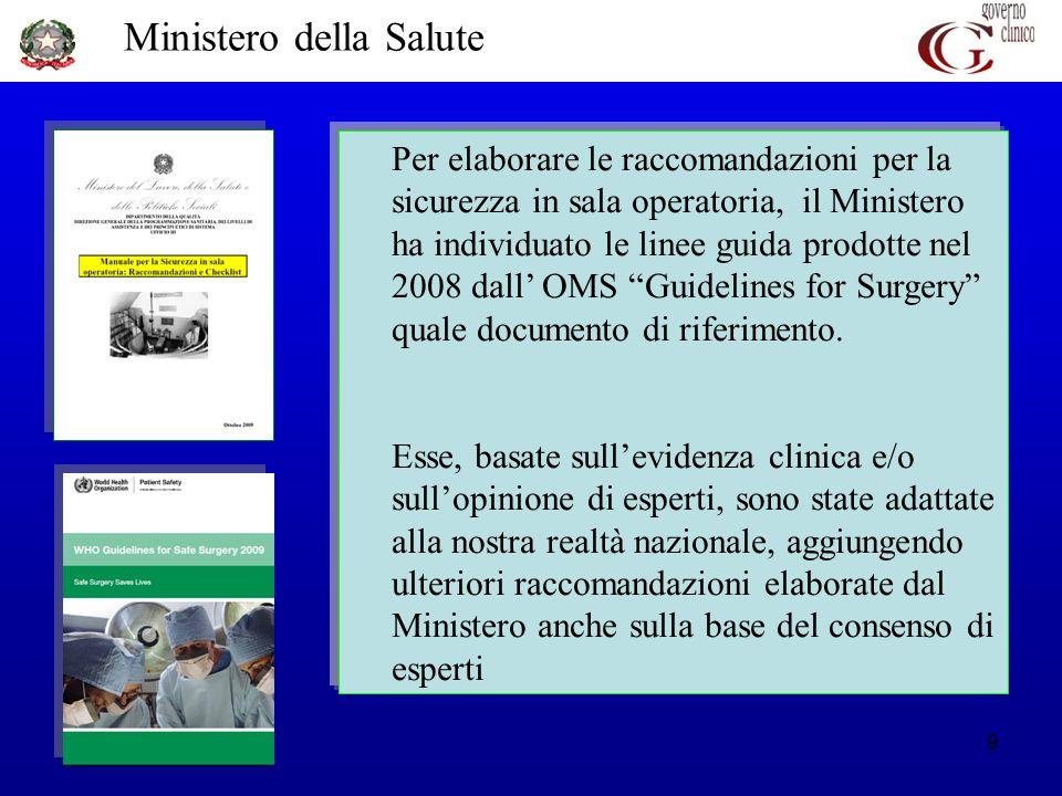Ministero della Salute 9 Per elaborare le raccomandazioni per la sicurezza in sala operatoria, il Ministero ha individuato le linee guida prodotte nel