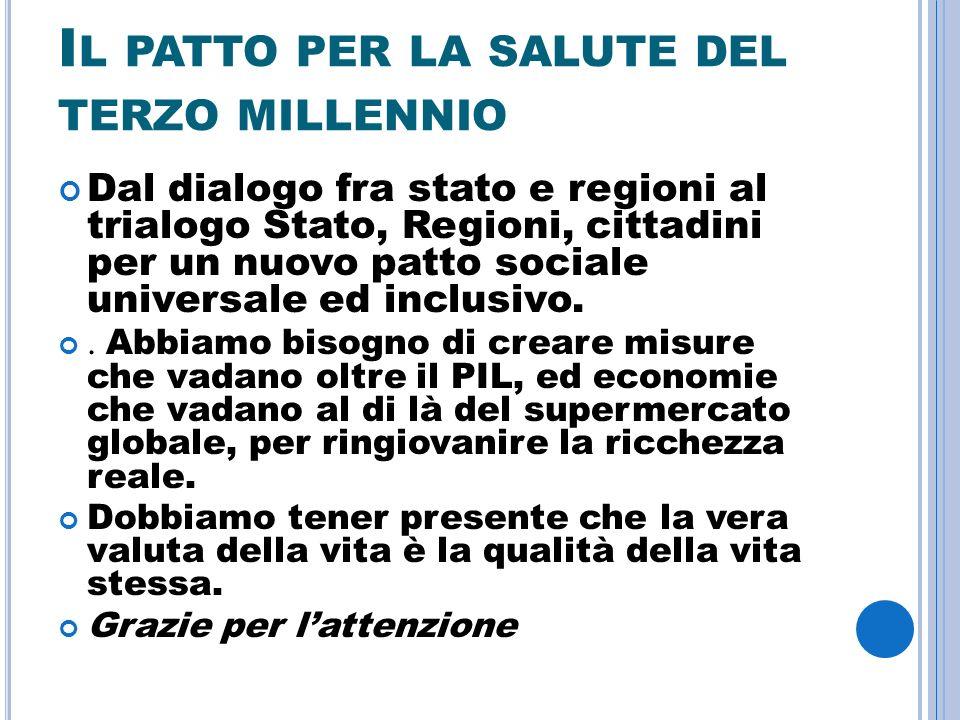 I L PATTO PER LA SALUTE DEL TERZO MILLENNIO Dal dialogo fra stato e regioni al trialogo Stato, Regioni, cittadini per un nuovo patto sociale universale ed inclusivo..