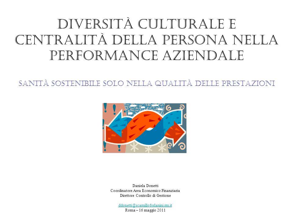 Diversità culturale e centralità della persona nella performance aziendale sanità sostenibile solo nella qualità delle prestazioni Daniela Donetti Coo
