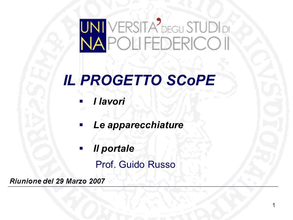 1 Riunione del 29 Marzo 2007 IL PROGETTO SCoPE Prof.