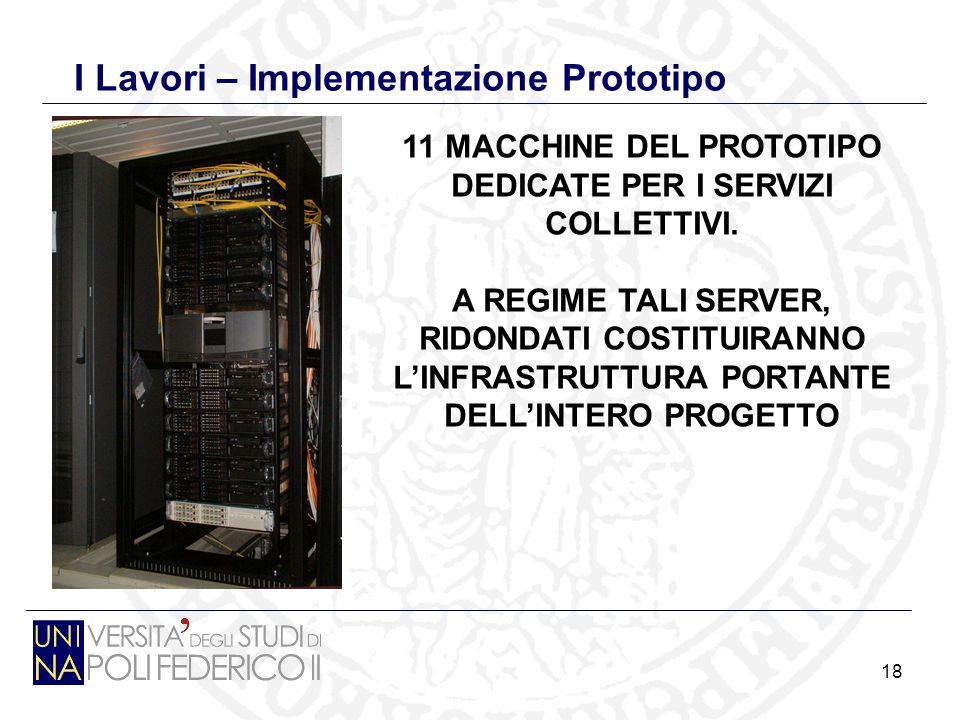 18 I Lavori – Implementazione Prototipo 11 MACCHINE DEL PROTOTIPO DEDICATE PER I SERVIZI COLLETTIVI.