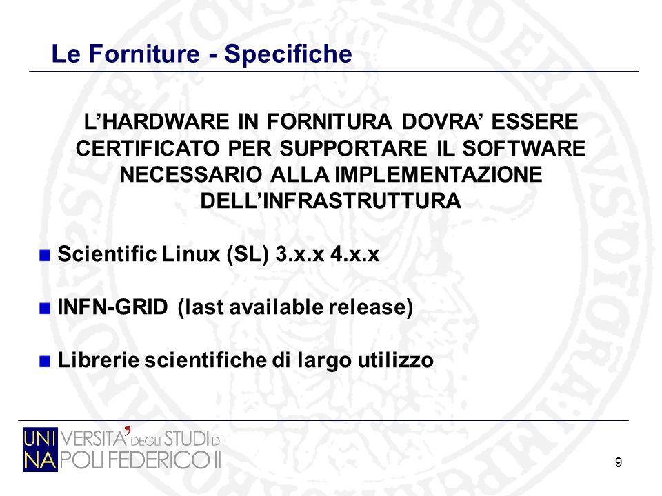 9 Le Forniture - Specifiche LHARDWARE IN FORNITURA DOVRA ESSERE CERTIFICATO PER SUPPORTARE IL SOFTWARE NECESSARIO ALLA IMPLEMENTAZIONE DELLINFRASTRUTTURA Scientific Linux (SL) 3.x.x 4.x.x INFN-GRID (last available release) Librerie scientifiche di largo utilizzo