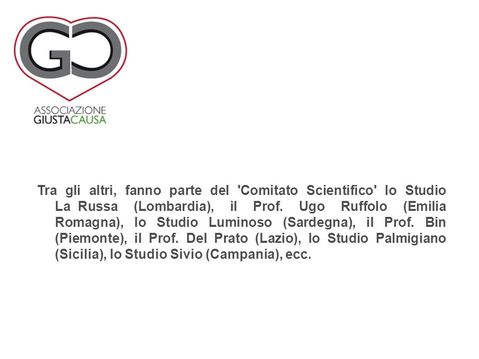 Tra gli altri, fanno parte del 'Comitato Scientifico' lo Studio LaxRussa (Lombardia), il Prof. Ugo Ruffolo (Emilia Romagna), lo Studio Luminoso (Sarde