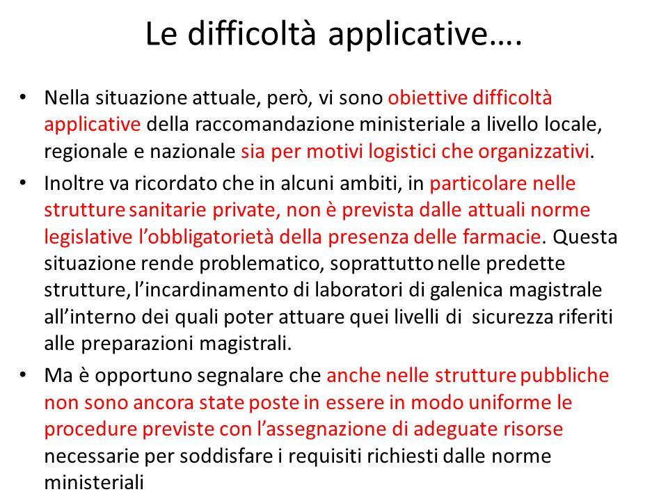 Le difficoltà applicative…. Nella situazione attuale, però, vi sono obiettive difficoltà applicative della raccomandazione ministeriale a livello loca